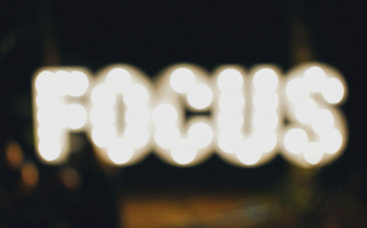The words focus bright yet blurry