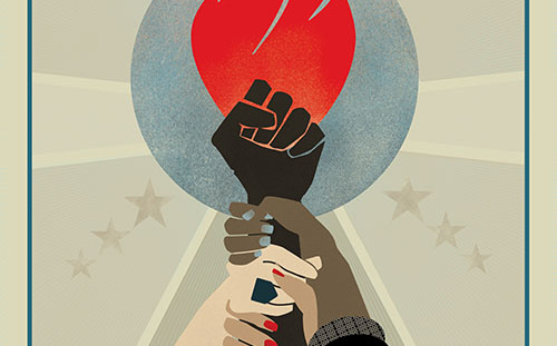 Hear our voice with women holding hands with torch
