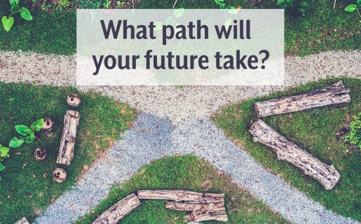 """pathway at a crossroads with text """"what path will your future take?"""""""