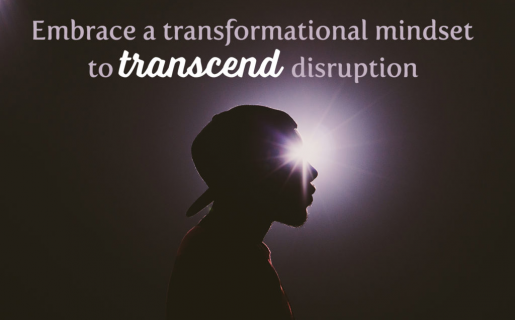 """Man with backwards hat looking into the light with text that says """"embrace a transformational mindset to transcend disruption."""""""