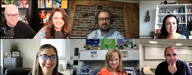 A gallery screenshot from one of our virtual sessions featuring the team and several participants, smiling in excitement.