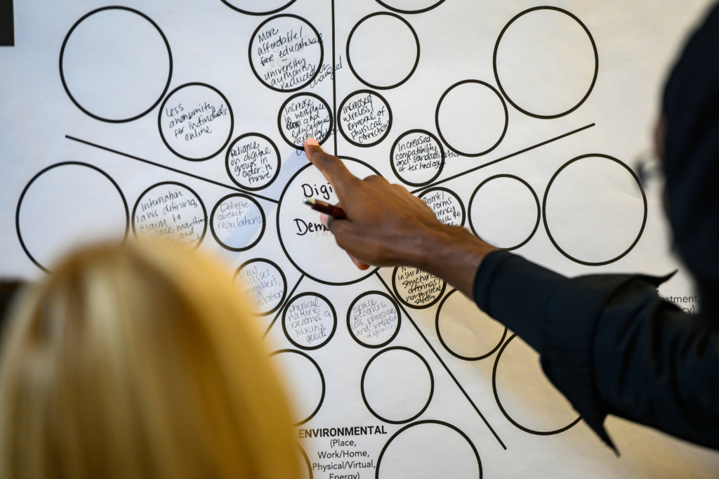 A participant points at a completed futures wheels chart, a tool that allows users to map implications of an issue or pattern.